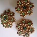 green rhinestone earrings a..