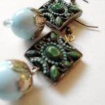 pale aqua earrings with Art..