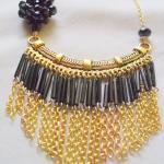 black and gold bib necklace..