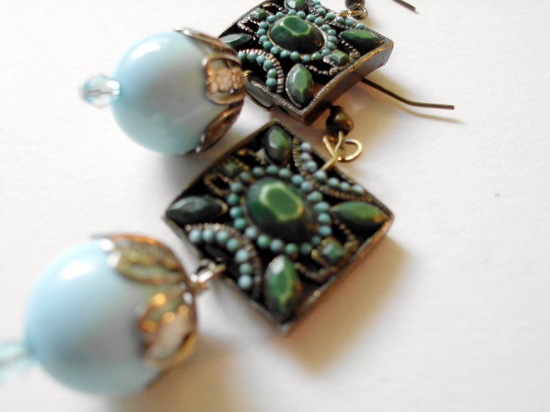 pale aqua earrings with Art nouveau pendants