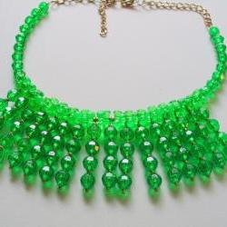 green sparkle bib necklace