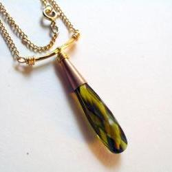 olive crystal necklace on goldfilled chain
