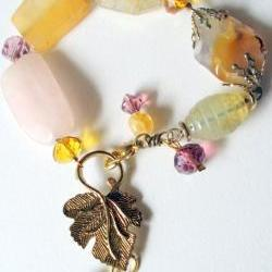 leaf bracelet with pink quartz